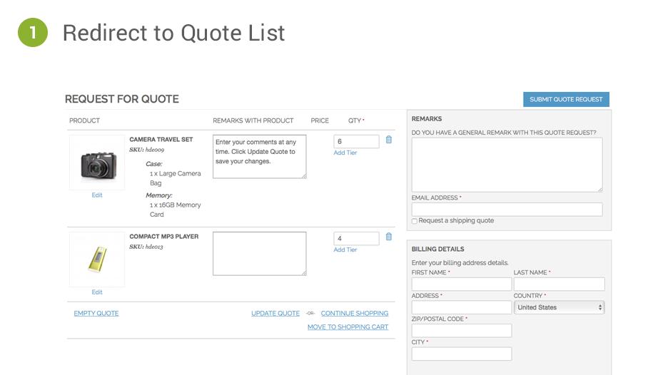 Magento Quotation Methods Cart2Quote Option 1